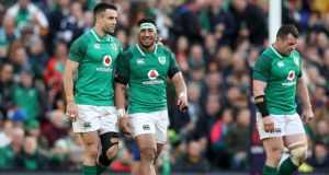 Conor Murray and Bundee Aki during Ireland's win over Scotland. Photograph: Bryan Keane/Inpho