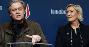 Steve Bannon, former adviser to president Donald Trump, and  Marine Le Pen, president of  France's far-right party Front National (FN),  giving a joint press conference during the FN party annual congress on March 10th in Lille. Photograph:  Sylvain Lefevre/Getty Images