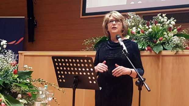 Former president Mary McAleese addressing a Voices of Faith conference in Rome on March 8th. Photograph: Patsy McGarry