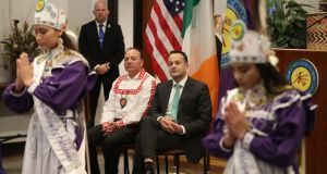 Taoiseach Leo Varadkar watches a cultural display from members of the Choctaw nation at the Choctaw tribal council in Oklahoma on day two of his US visit. Photograph: Niall Carson/PA Wire