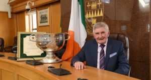 Former Kerry footballer and manager Mick O'Dwyer with the Sam Maguire trophy during a civic reception hosted by Kerry County Council in his honour. Photograph: Domnick Walsh/Eye Focus