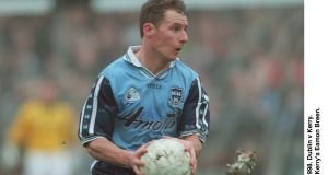 Current Dublin manager Jim Gavin in action for the county in the 12-point defeat of Kerry in in the  league clash at Parnell Park in March 1998. Gavin scored three points on the day.  Photograph: James Meehan/Inpho