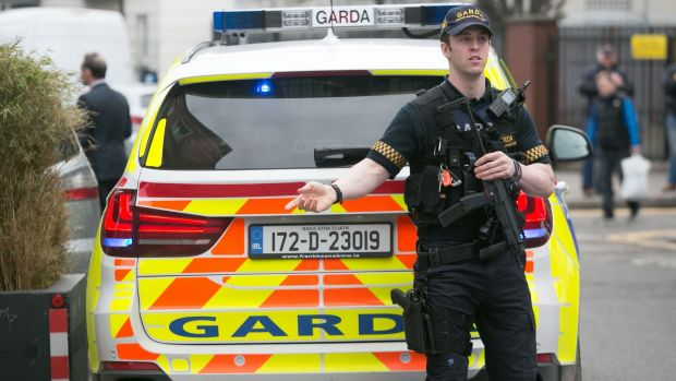 Members of the Garda at a checkpoint on Francis Street, Dublin on Monday. Photograph: Gareth Chaney/Collins