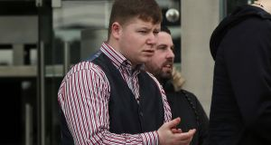 Martin Keenan (20) of Cardiffsbridge Avenue, Finglas, arrives at the Central Criminal Court where he has pleaded not guilty to murdering Wesley Mooney (33). Photograph: Collins Courts