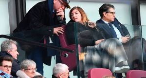 West Ham United's vice-chairman Karren Brady during the defeat to Burnley at The London Stadium on Saturday. Photograph: Getty Images
