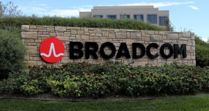 Shares of Broadcom, which is effectively barred from continuing its hostile pursuit of Qualcomm, rose nearly 3 per cent in morning trading. Qualcomm shares fell 3.5 per cent. Photograph: Reuters