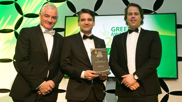Gavin Whitaker, Director, Clearstream presents the Green Large Organisation of the Year award to John Durkan & Barry O'Donovan, ABP Food Group.