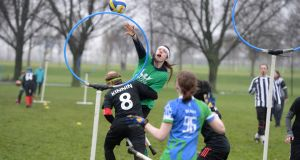 Philip Moore, Dublin Draíochta Dragons, gets in a shot past the challenge of Allen Kinnin, Northern Wyverns from Belfast, during the Irish Quidditch Cup at Fairview Park, Dublin. Photograph: Dara Mac Dónaill