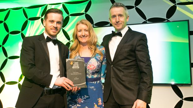 Mary Whinnery, Product Manager, Calor presents The Green Manufacturer Award to Greg Donaghey & Declan Moore, TECHRETE.
