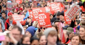 Anti-abortion protesters march through Dublin at a demonstration last Saturday. Photograph: Caroline Quinn/PA Wire
