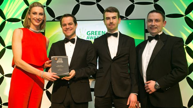 Mark Bennett, CEO, Ambie, presents The Green Retailer award to Deirdre Ryan, Hugh McAfee & Paul Moloney, Lidl Ireland.