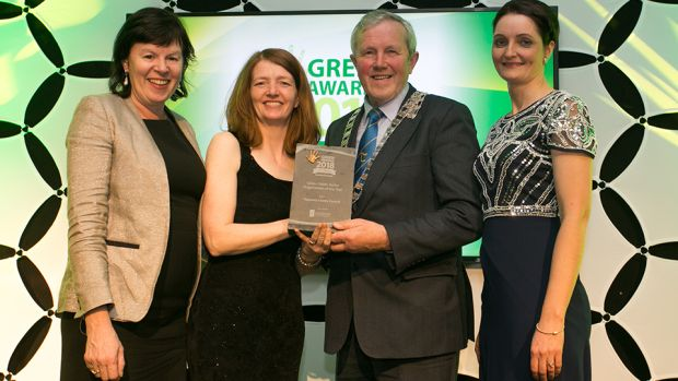 Bernie Kiely, Assistant Principal in the Waste and Resource Efficiency Division, Department of Communications, Climate Action & Environment, presents the Green Public-Sector Organisation of the Year award to Marion O'Neill, Roger Kennedy & Paula Gallagher, Tipperary County Council.