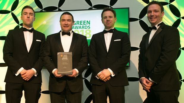 Padraig Ryan, Grant Thornton Ireland, presents The Green Product Award to Stephen O'Reilly, Neil McCabe & Damien Bligh, GROWN.