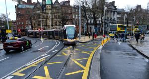 The Luas tram at College Green. Photograph: Cyril Byrne