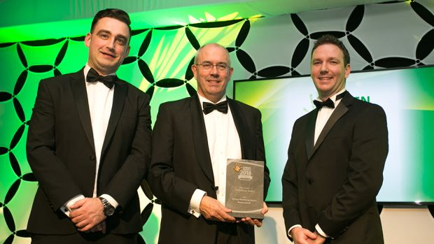 Padraig Ryan, Grant Thornton Ireland, presents The Green Technology award to Kevin McCarthy & Frank Casey, ResourceKraft Energy Management Solutions.