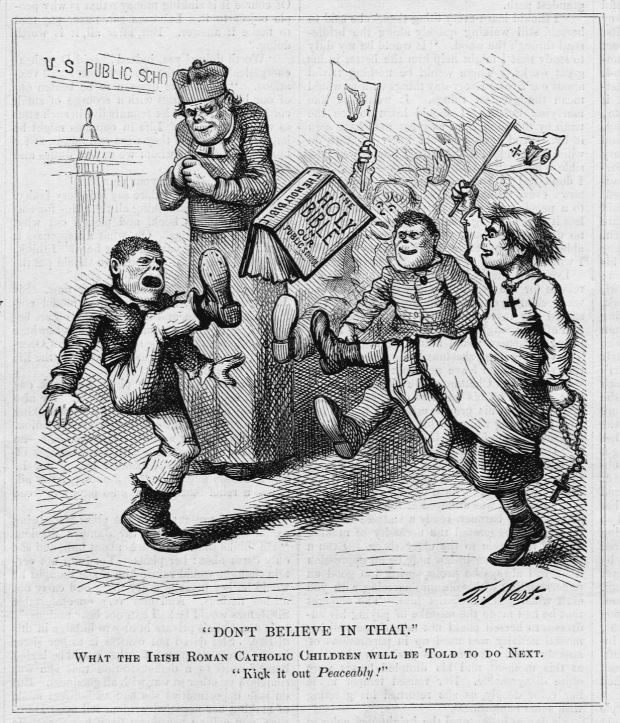 An anti-Catholic cartoon by Thomas Nast circa 1871. An Irish Roman Catholic priest seems pleased as children kick a bible. Photograph: CORBIS/Corbis via Getty Images