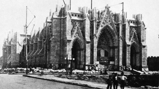 St Patrick's Cathedral under construction, New York City, circa 1875. Archbishop Hughes laid the foundation stone. Photograoh: Graphic House/Getty Images