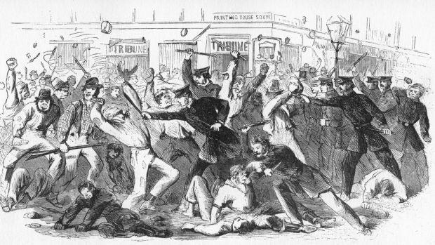 In 1863, during the American Civil War, opponents of conscription rioted at the offices of the Daily Tribune in New York. A get-out clause in the draft legislation, known as the Rich Man's Exemption, caused anger among the poor of New York City, especially Irish immigrants. The Irish are caricatured as having ape-like faces. Photograph: The Print Collector/Print Collector/Getty Images