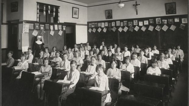 A US Catholic elementary school class, circa 1930. Archbishop Hughes championed building Catholic schools, even before churches. Photograph: Universal History Archive/UIG via Getty Images
