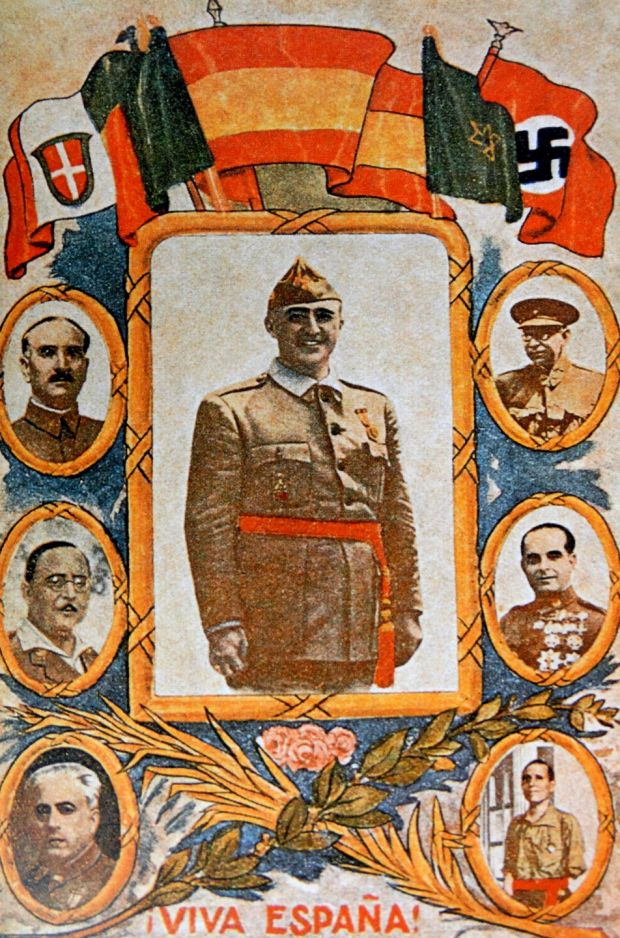A 1936 postcard of Francisco Franco, surrounded by leading nationalist generals and Fascist imagery. Photograph: Universal History Archive/UIG via Getty Images