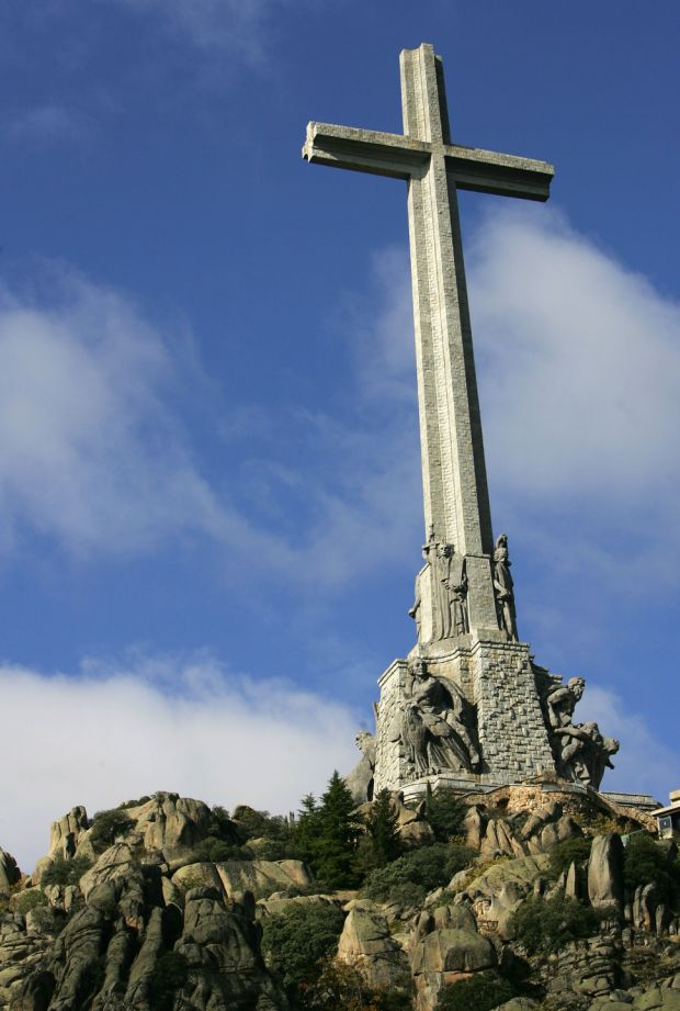 The cross on top of the Valle de los Caidos (The Valley of the Fallen), a monument to the Francoist combatants who died during the Spanish civil war and Franco's final resting place just outside Madrid. Photograph: Philippe Desmazes/AFP/Getty Images