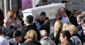 Kayla Carey's coffin is carried from St Mary's Church in Navan after her funeral Mass on Tuesday. Photograph: Colin Keegan/Collins.
