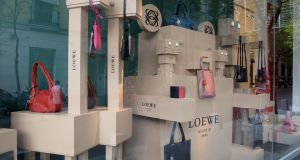 Loewe  handbags and high-quality leather goods   on display in the Barrio Salamanca, a fashionable shopping  area  in Madrid. Photograph: Cristina Arias/Getty Images