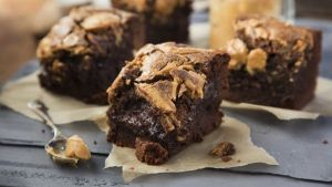 Peanut butter brownies: deliciously rich and easy to bake. Photograph: Harry Weir Photography