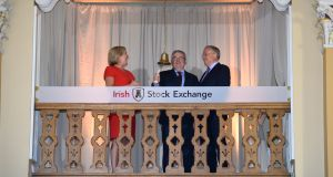 AIB chief executive Bernard Byrne rings the bell at the Irish Stock Exchange in June 2017 with ISE chief executive Deirdre Somers and AIB chairman Richard Pym, following the bank's IPO. Norway's sovereign wealth fund was an investor in the share sale. Photograph: Dara Mac Dónaill