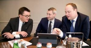 Glenveagh Properties chief executive Justin Bickle, chief financial officer Michael Rice and chief operating officer Stephen Garvey. Photograph: Colm Mahady/Fennell Photography