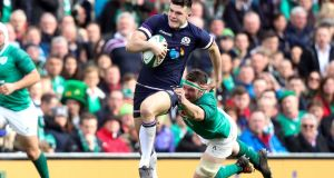 Scotland's Blair Kinghorn tackled by Ireland's Peter O'Mahony. I'm confident this Irish group – under the leadership of Rory Best, Johnny Sexton, Rob Kearney, CJ Stander and O'Mahony – understand what needs to be done. Photograph: Óisin Keniry/Inpho