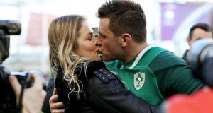 Ireland's CJ Stander celebrates with wife Jean-Marie after victory over Scotland in the Six Nations Championship match at the  Aviva Stadium, Dublin. Photograph:  Bryan Keane/Inpho