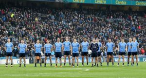 The Dublin team during the National Anthem  before their league encounter with Kerry. There is  the suspicion whereas Dublin are tipping along nicely that their main rivals are slipping slightly. Photograph: Inpho