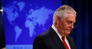 US secretary of state Rex Tillerson speaks to the media at the  state department after being fired by President Donald Trump in Washington. Photograph: Leah Millis/Reuters
