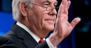 Secretary of State Rex Tillerson waves goodbye after speaking at a news conference at the State Department in Washington on  Tuesday. Photograph: Andrew Harnik/AP.