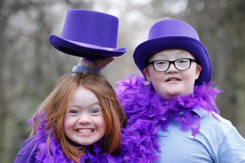 Lorna Dolan (11) and Andre Gleeson (10) encouraging people to take part in the third Annual Down Swndrome Ireland 'Purple Run' supported by MACE on March 24th. Photograph: Naoise Culhane