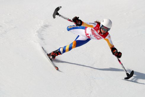 Alpine Skiing at Pyeongchang 2018 Winter Paralympics:  Anna Jochemsen of the Netherlands in full flight. Photograph: Paul Hanna/Reuters