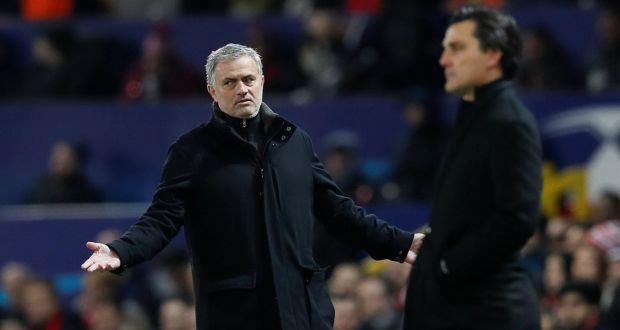 9fa89dc7e Manchester United manager Jose Mourinho gestures on the sidelines during  the Champions League round of 16