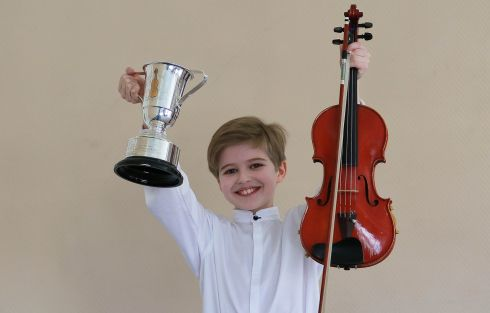 Peter Ryan delighted with his win in Junior Violin at this years Feis Ceoil.  Photograph Nick Bradshaw