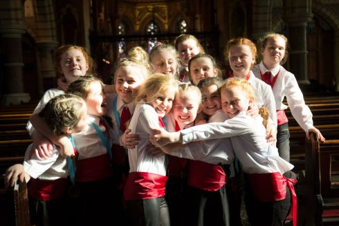 Moate Children's Choir celebrating after winning Junior Choirs Unison( Primary Schools)  Picture: Clare Keogh