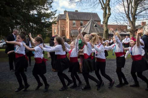 Moate Children's Choir celebrate by dancing the Cha Cha after winning the Juior Choirs Unison( Primary Schools)  Picture: Clare Keogh