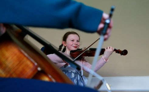 11 year old Grace Cotter from Westmeath practicing at this years Feis Ceoil.  Photograph Nick Bradshaw