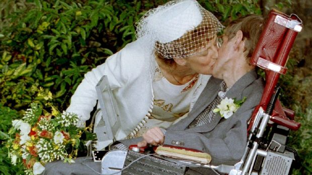 A kiss for scientist and theorist Stephen Hawking from his new bride Elaine Mason after their civil wedding in September 15th, 1995. Photograph: Paul Bates
