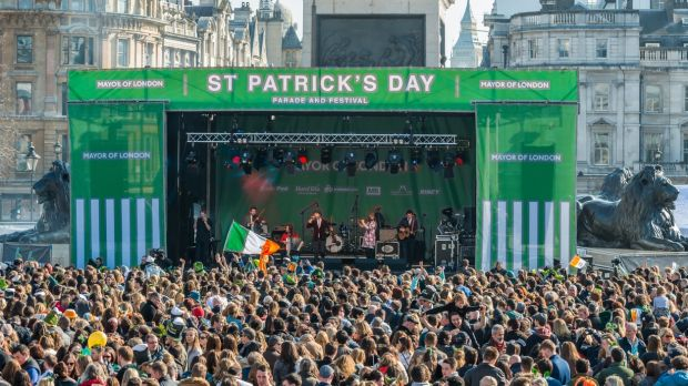 London's St Patrick's Day parade and festivities are centred on Trafalgar Square