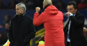 Manchester United manager Jose Mourinho at the final whistle at Old Trafford. Photograph: Getty Images