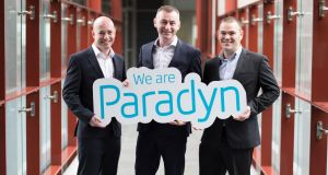 Paradyn's Paul Casey, Cillian McCarthy,  and Rob Norton at the launch of the new company which unites Exigent Networks, Irish Telecom and Netforce. Photograph: Steve Langan