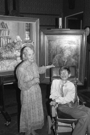 Professor Stephen Hawking and Nobel Prize winner Dorothy Hodgkin, with their portraits unveiled at the National Portrait Gallery in London in 1992. Photograph: PA