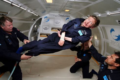 "British cosmologist Stephen Hawking experiences zero gravity during a flight over the Atlantic Ocean in 2007.  ""It was amazing ... I could have gone on and on,"" Hawking said after riding for two hours on a modified jet that flew a rollercoaster trajectory to create the impression of microgravity. Photograph: Zero G /AFP"