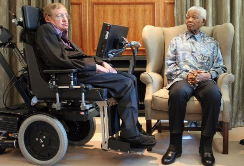 Author of A Brief History of Time sought to explain some of the most complicated questions of life and the universe. Former South African President Nelson Mandela, with the British scientist Professor Stephen Hawking, left, in Johannesburg in 2008. Photograph: Denis Farrell /AP