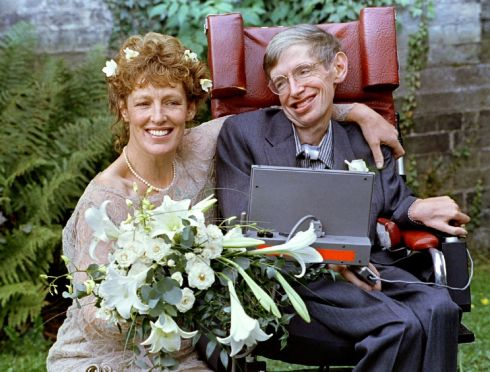 Stephen Hawking and his new bride Elaine Mason pose for pictures after the blessing of their wedding at St. Barnabus Church Cambridge, September 16, 1995. Photograph: Russell Boyce/Reuters